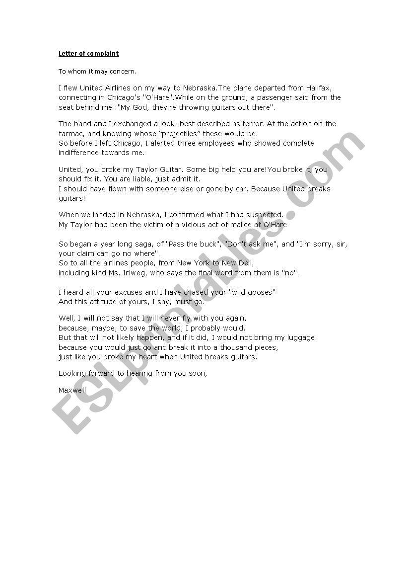 united brakes guitar letter of complaint - ESL worksheet by ponchi