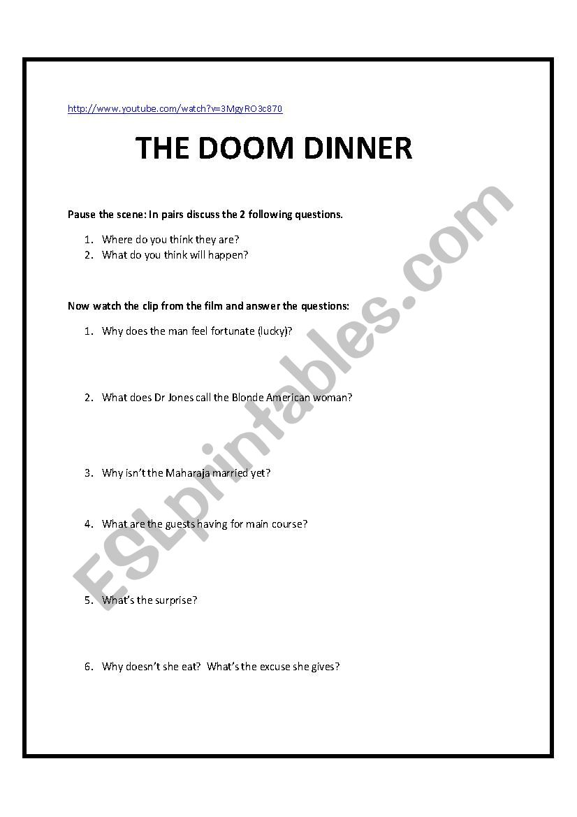 Indiana Jones: The Temple of Doom - ESL worksheet by fsmail