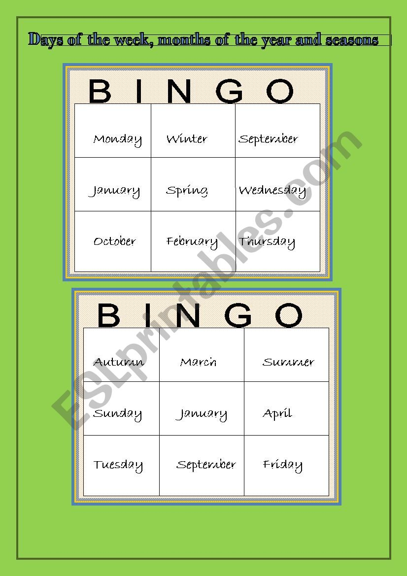 bingo game days of the week months of the year and seasons esl worksheet by macasan. Black Bedroom Furniture Sets. Home Design Ideas