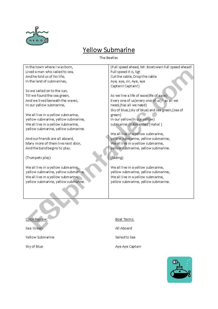 Yellow Sumbarine worksheet