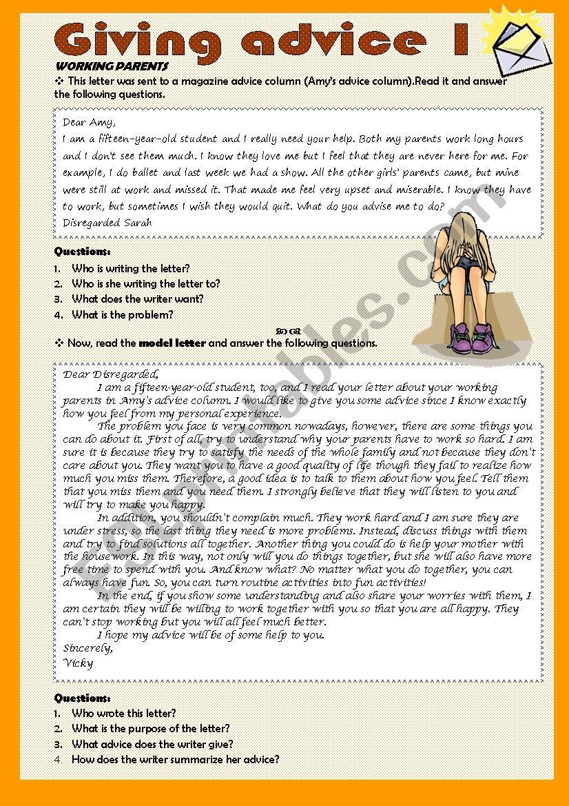 Giving advice 1 /3 worksheet