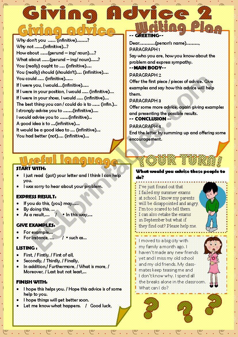 Giving advice 2/3 worksheet