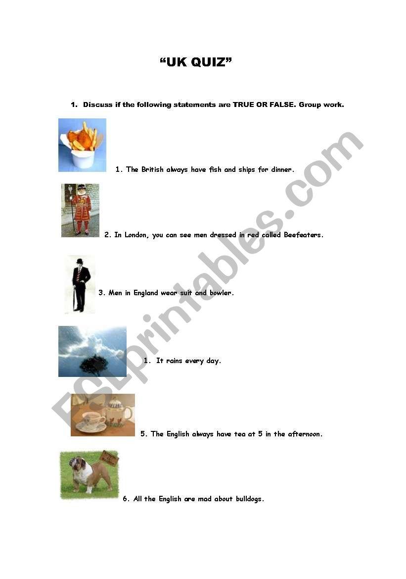 UK QUIZ worksheet