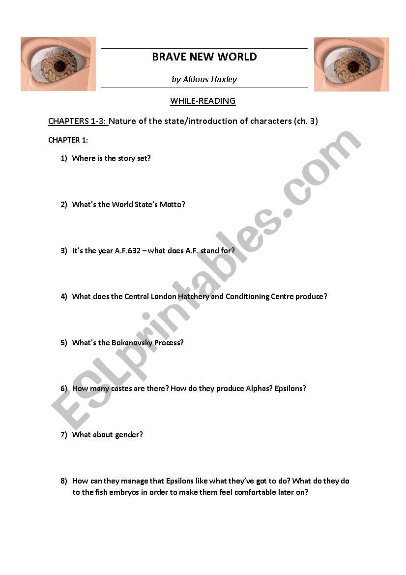 BRAVE NEW WORLD by Huxley - Worksheets chapters 1-6 + KEY ...