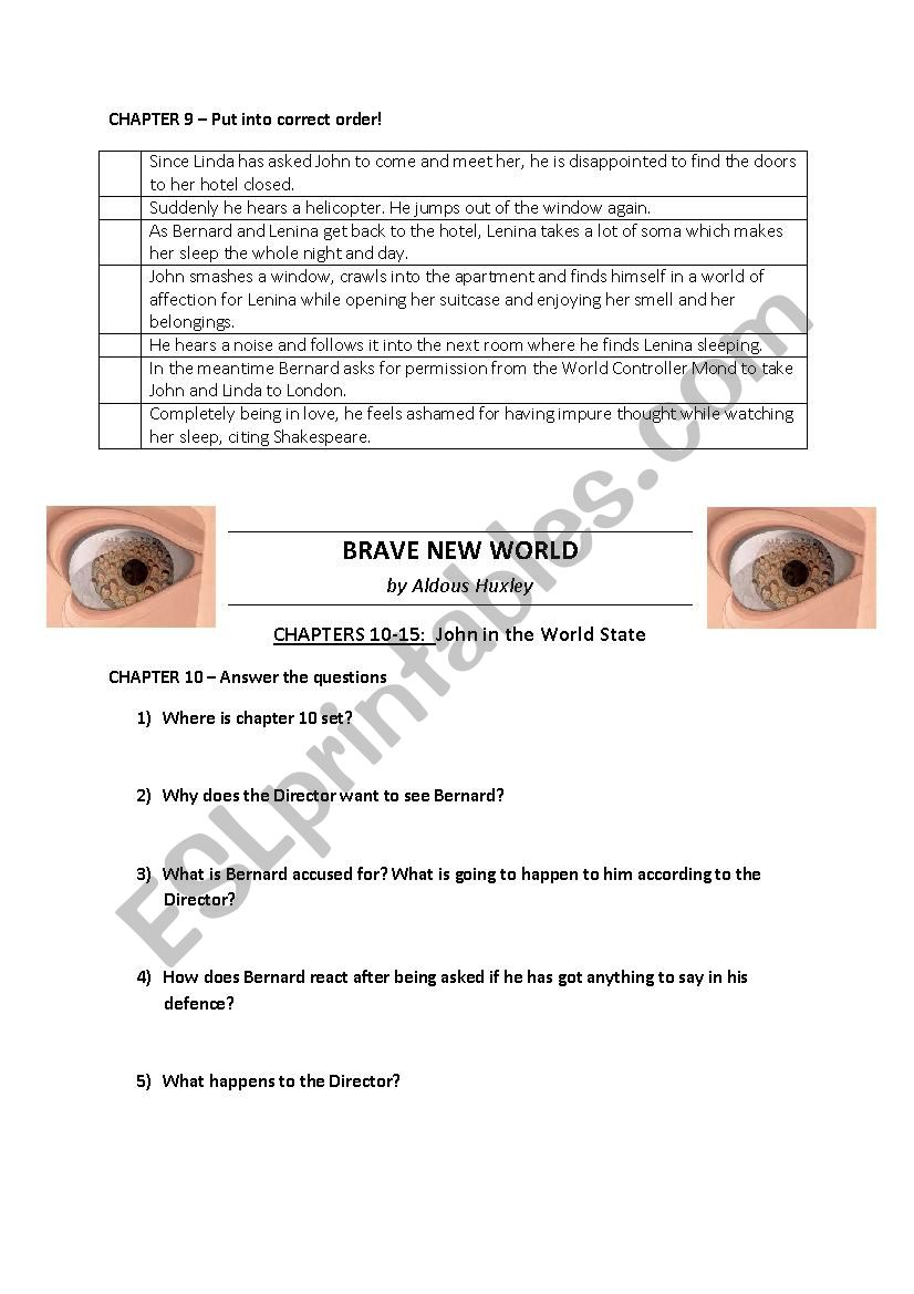 BRAVE NEW WORLD by Huxley - Worksheets chapters 7-11 + KEY