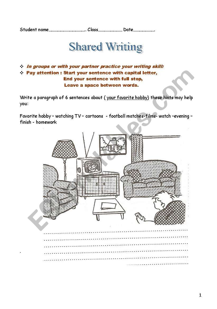 My favourite hobby worksheet