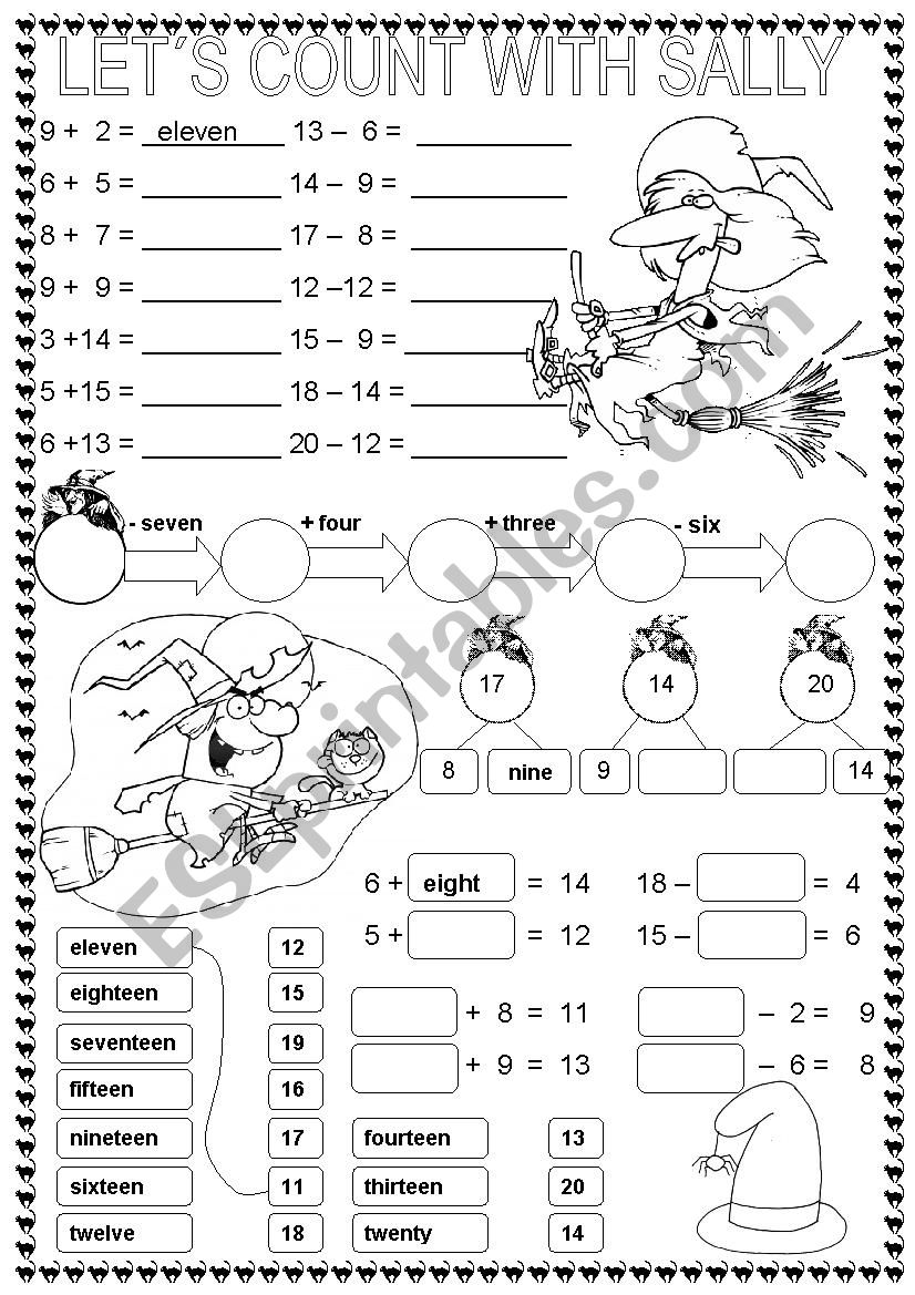 LET´S COUNT WITH SALLY worksheet