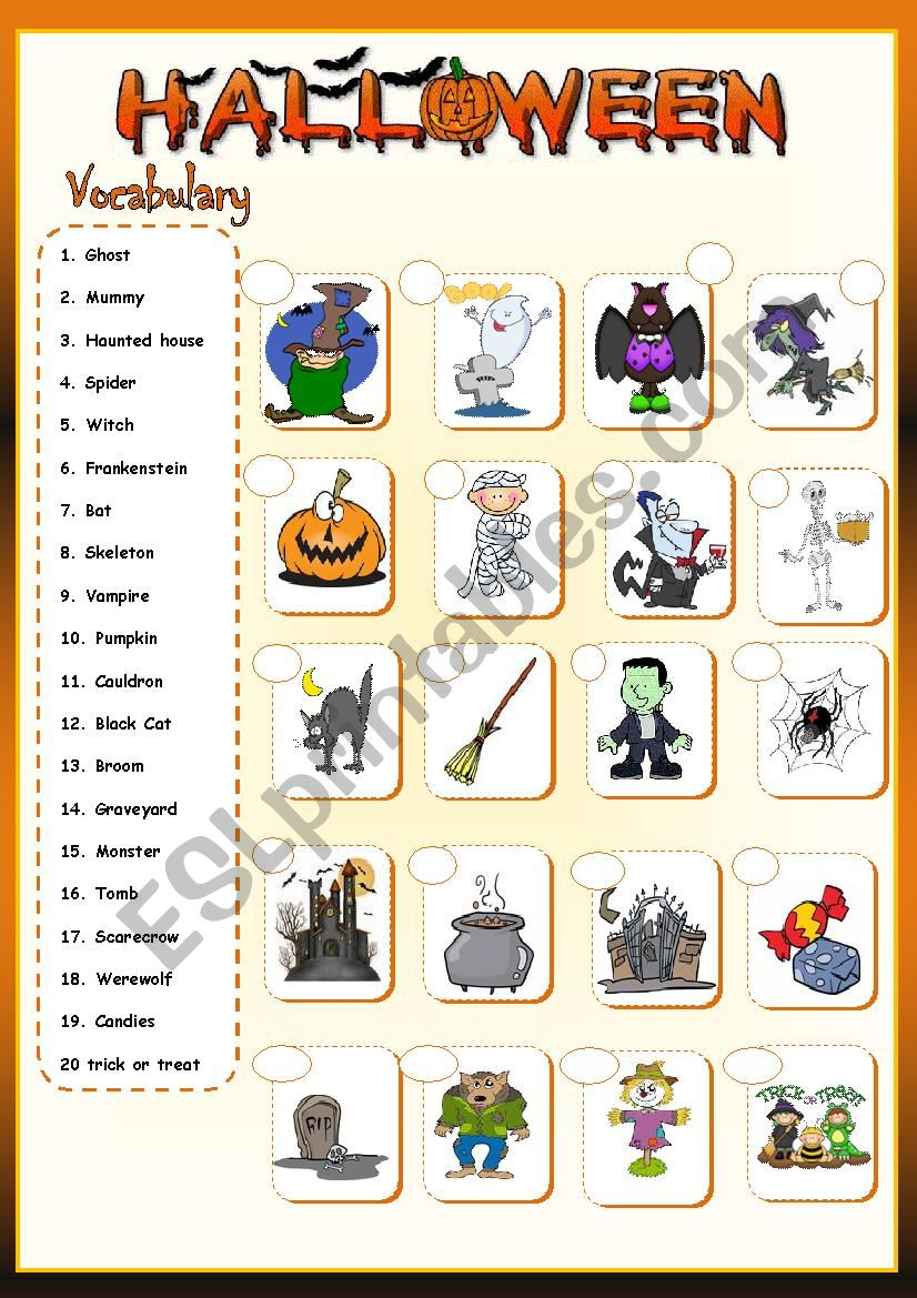 * Halloween vocabulary * worksheet