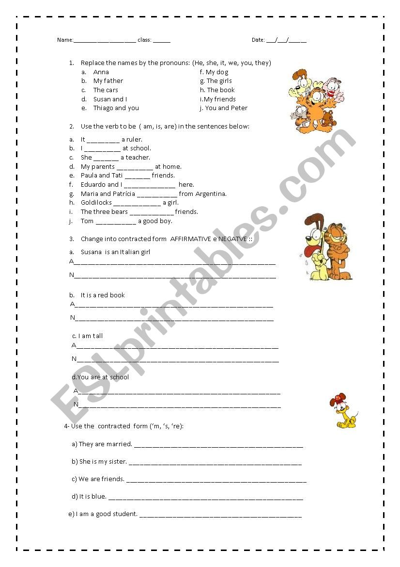 Pronouns and verb to be worksheet