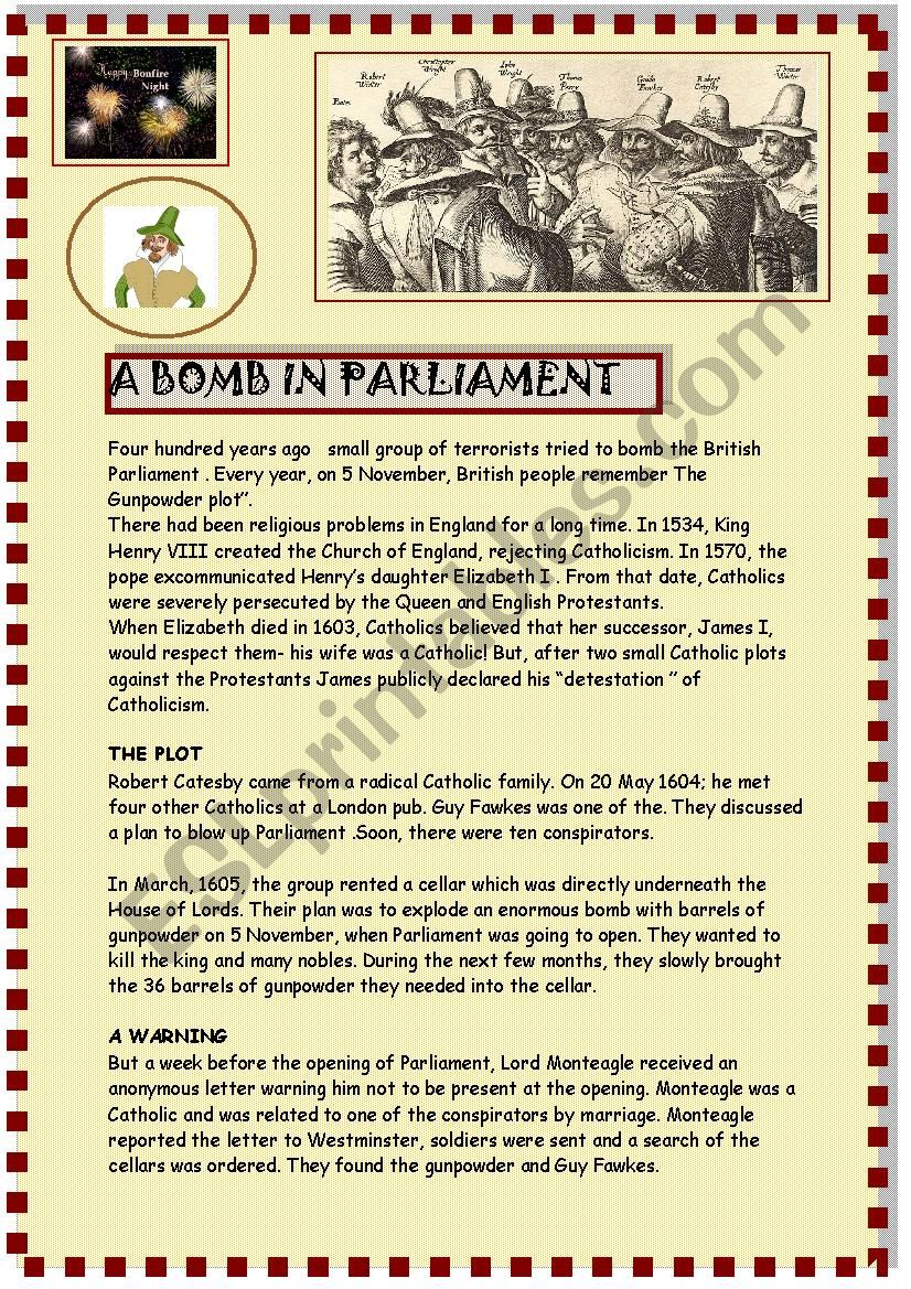 A bomb in Parliament  worksheet