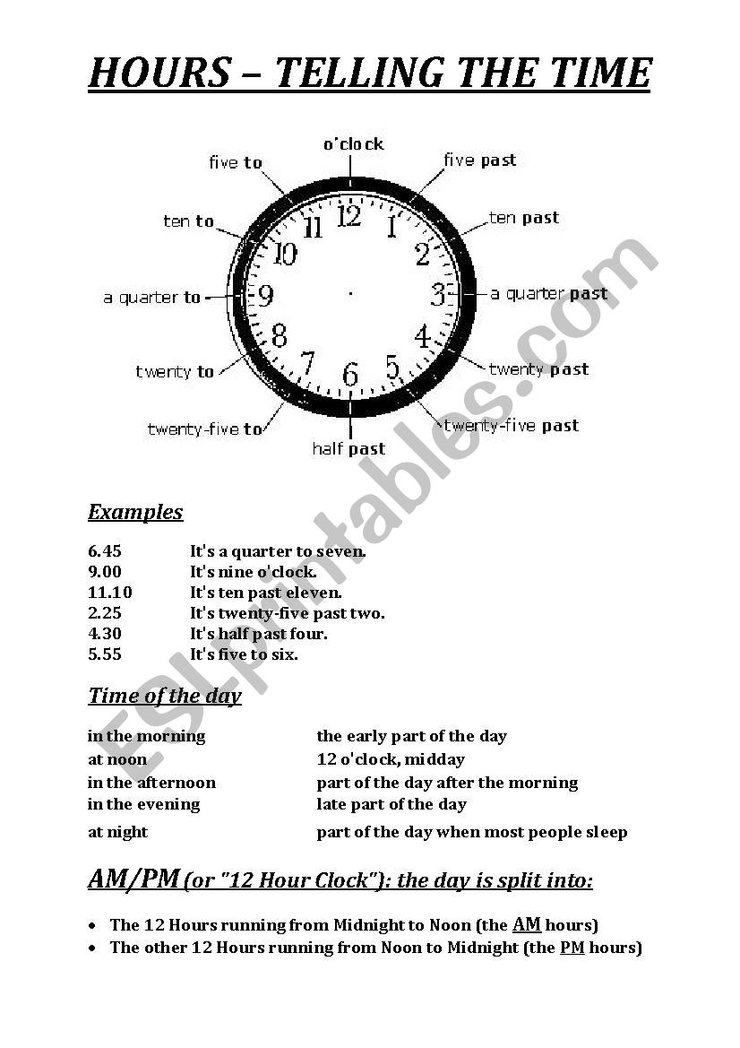 HOURS – TELLING THE TIME worksheet