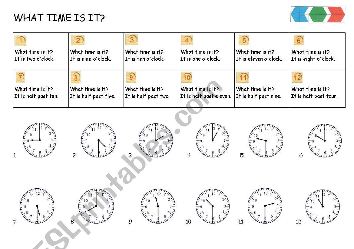 CLOCK o´clock & half past worksheet