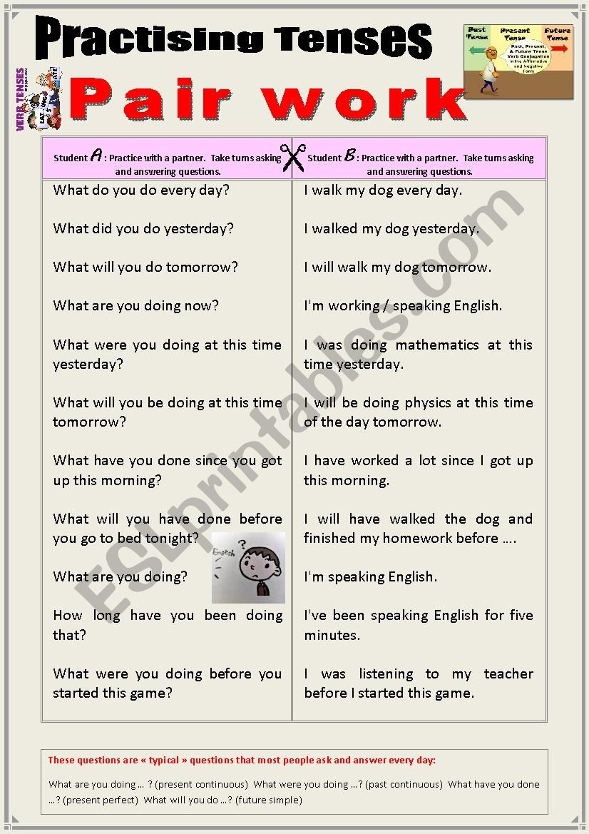 Practicing tenses with a partner