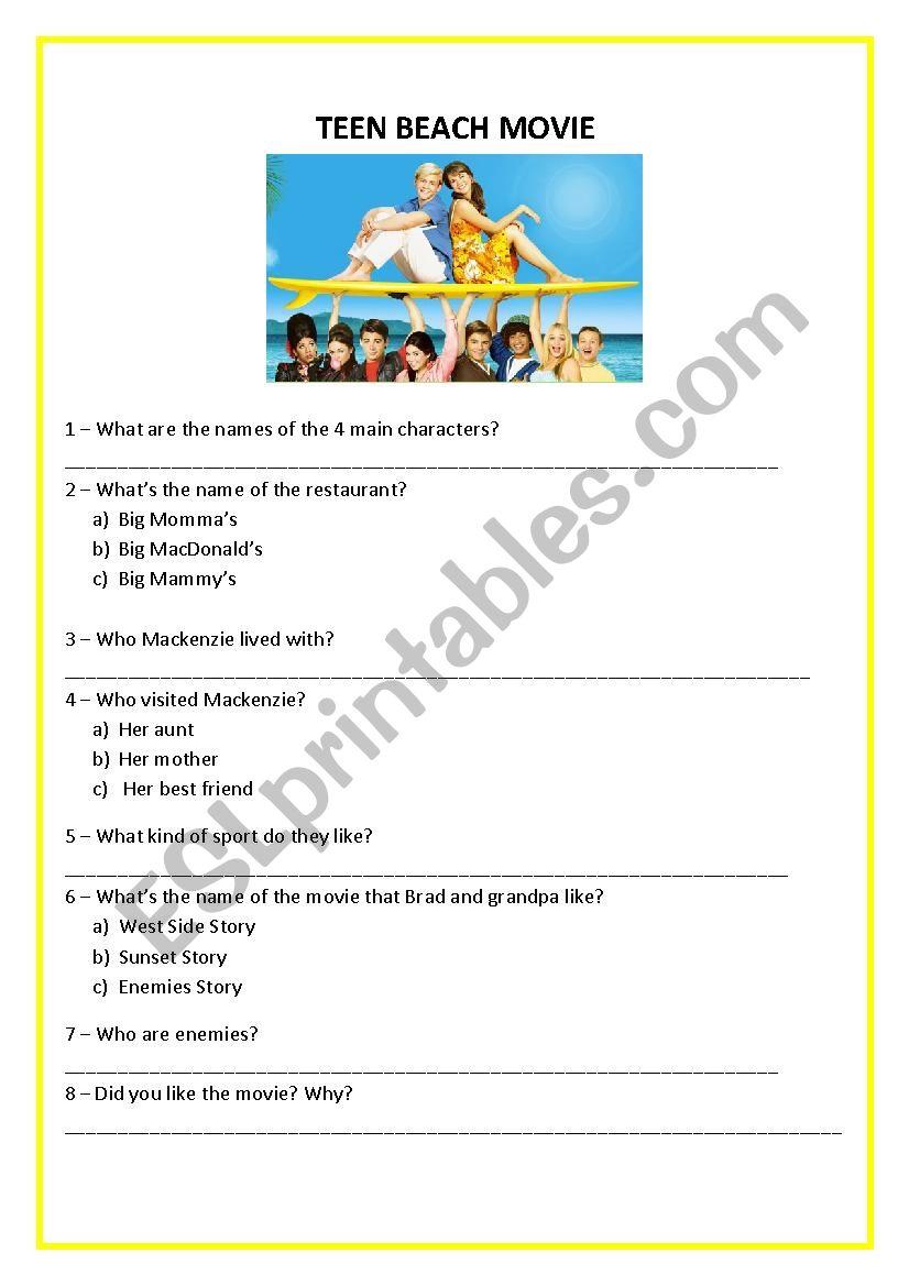 Teen Beach Movie worksheet