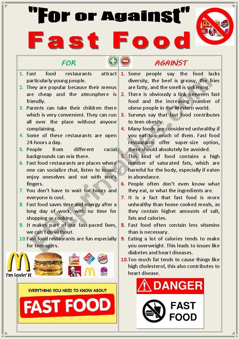 For or against Fast Food (Debating)