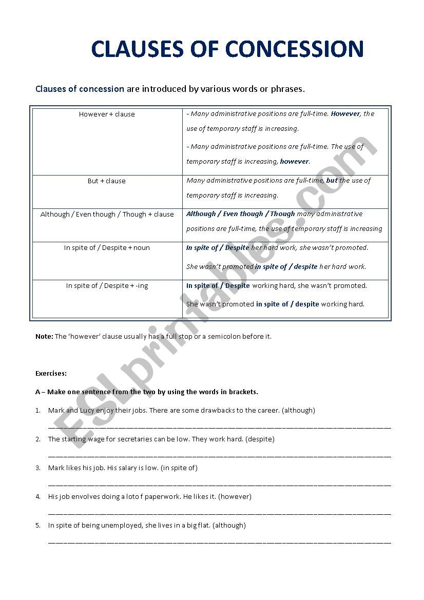 Concession Clauses worksheet