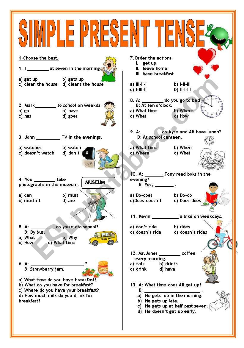 SIMPLE PRESENT TENSE TEST worksheet