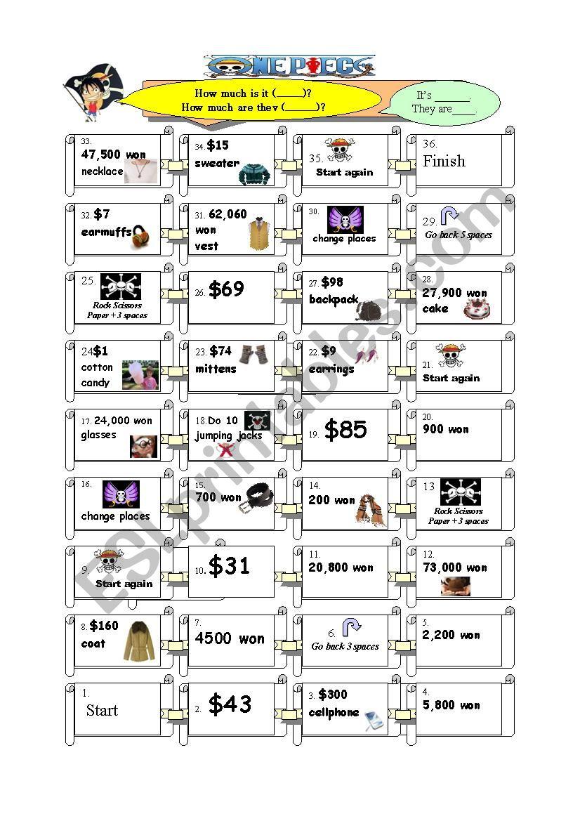 One Piece Board Game worksheet