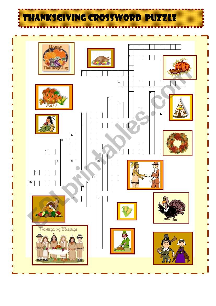 Thanksgiving Crosswords Esl Worksheet By Spied D Aignel