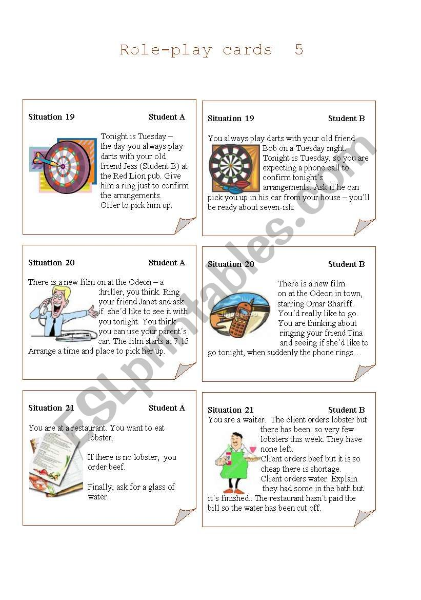 Role-play Cards  Set 5 worksheet