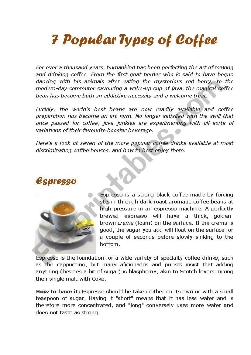 7 Popular Types of Coffee worksheet