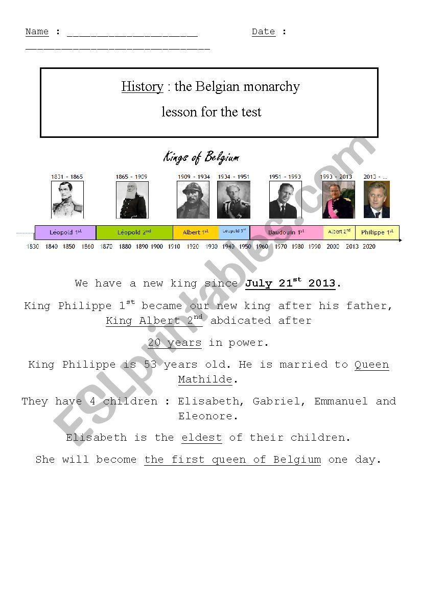 Belgian Monarchy Lesson worksheet