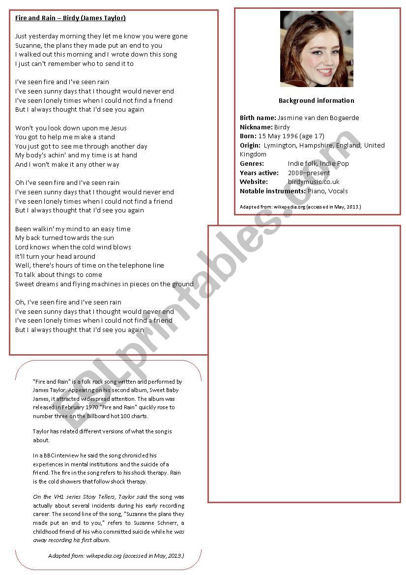 Fire & Rain worksheet