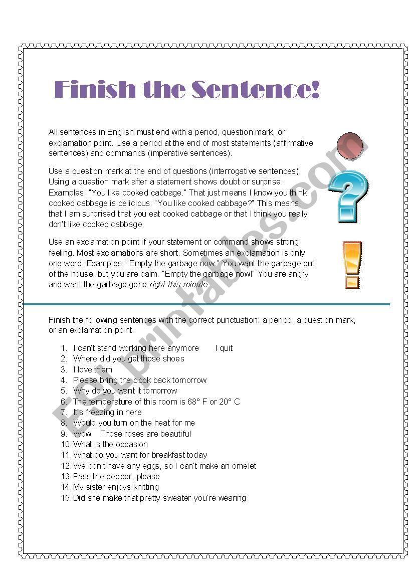 Finish the Sentence! worksheet