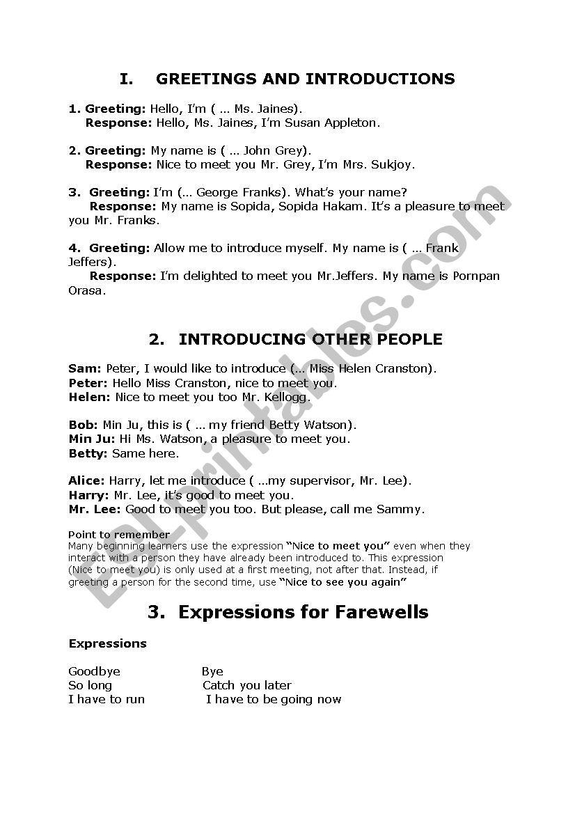 Greetings And Introductions Esl Worksheet By Tamararlini