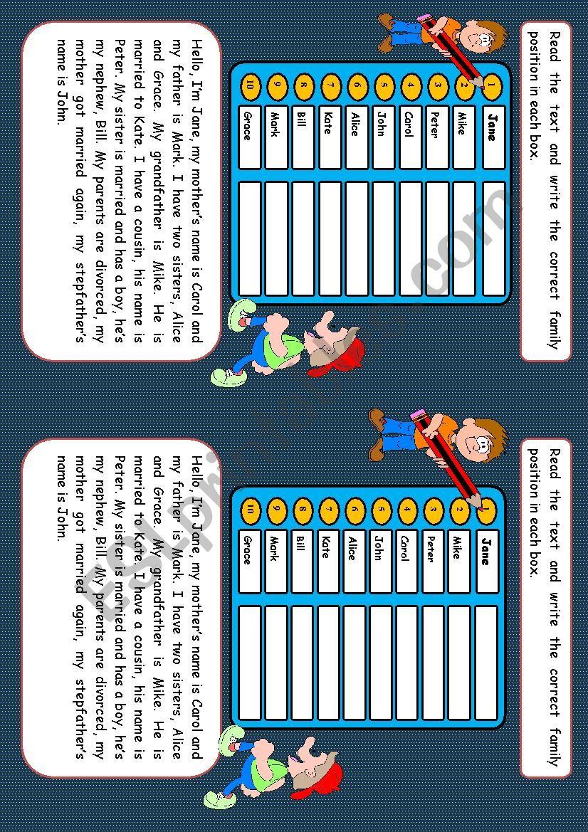 Family game worksheet
