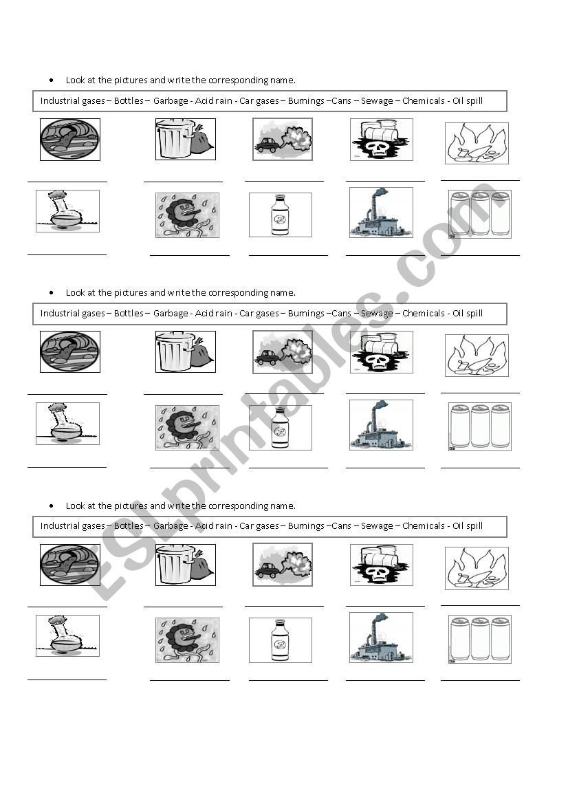 Causes of pollution worksheet