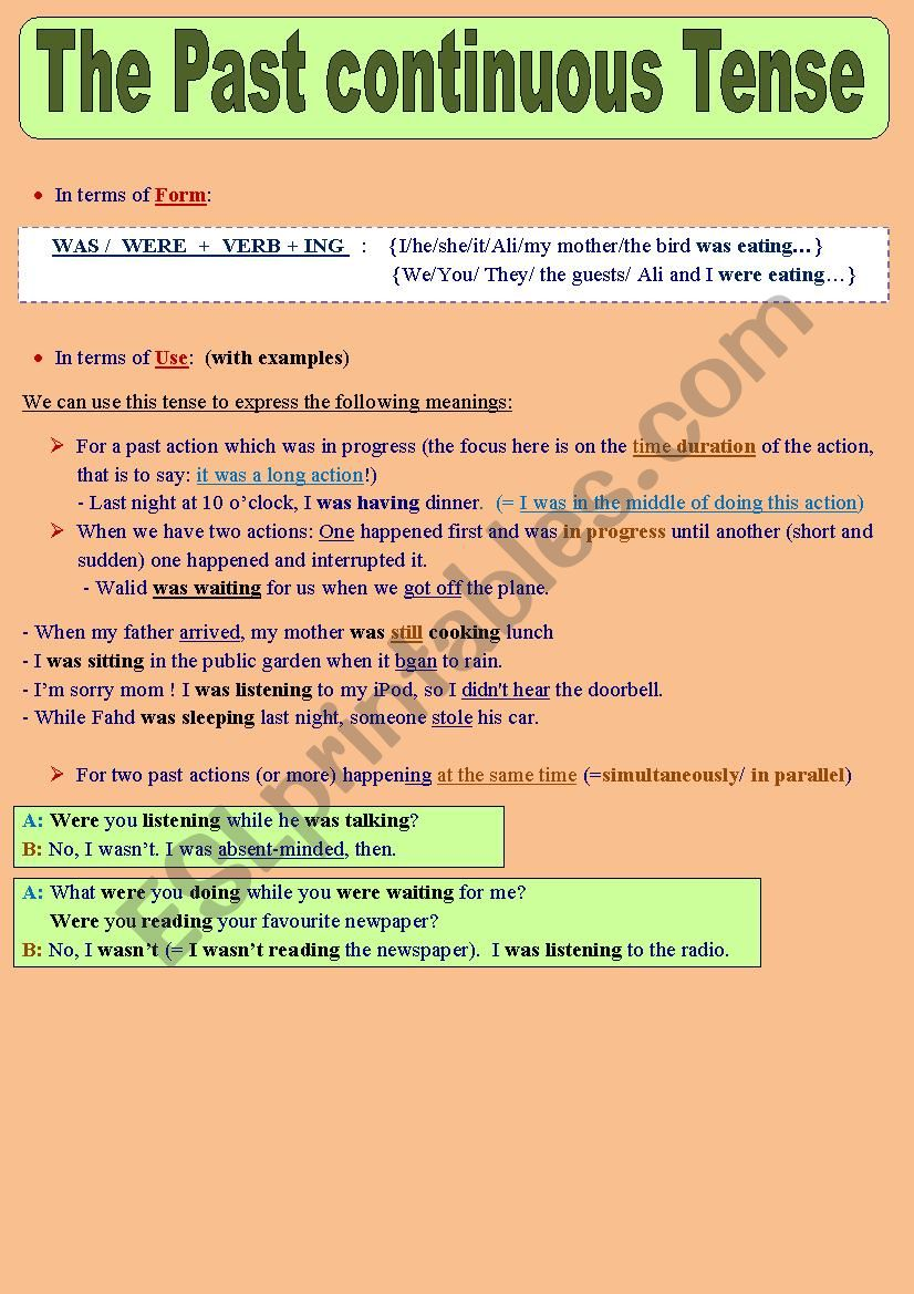 The Past continuous Tense: Form + Uses + Practice + Answer ...