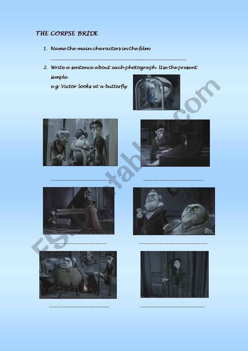 The Corpse Bride part 1 worksheet