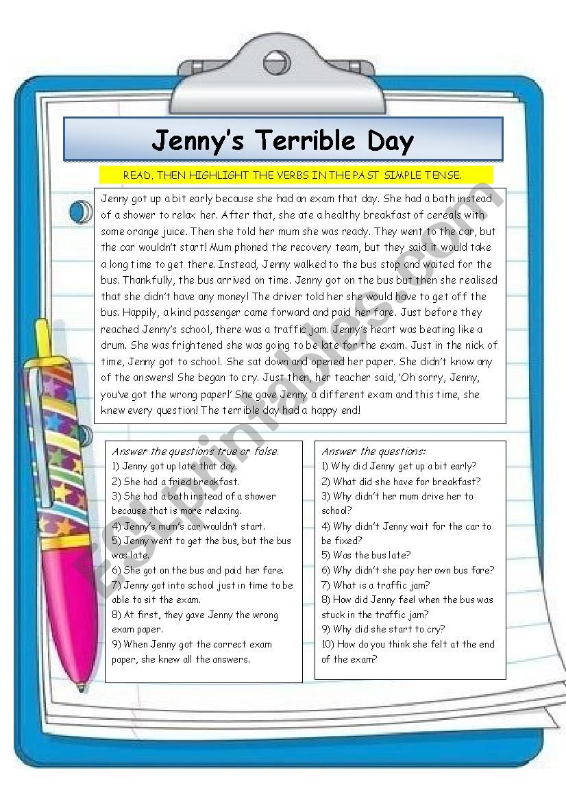Jenny´s Terrible Day worksheet