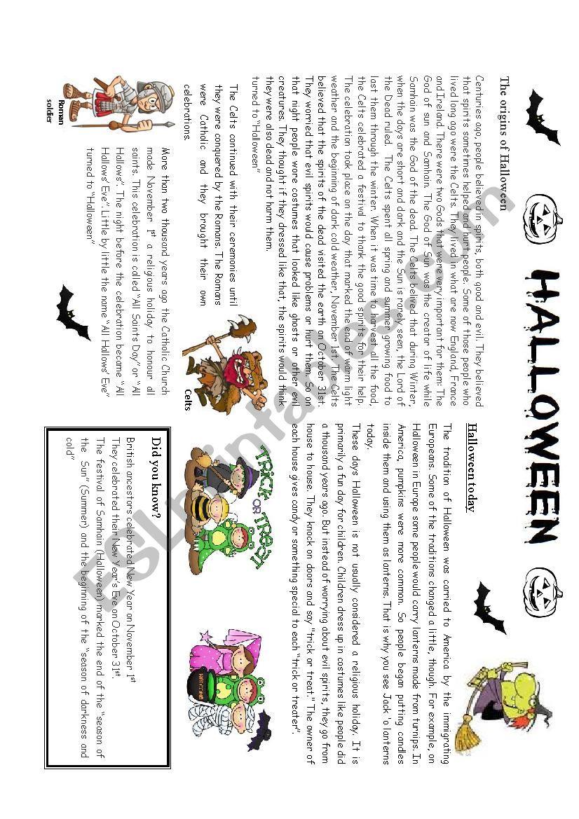 Halloween: Its origins worksheet