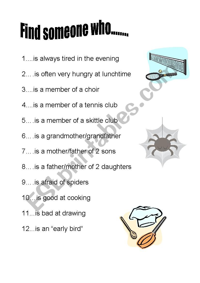 Find someone who... (elementary) - ESL worksheet by Sabine