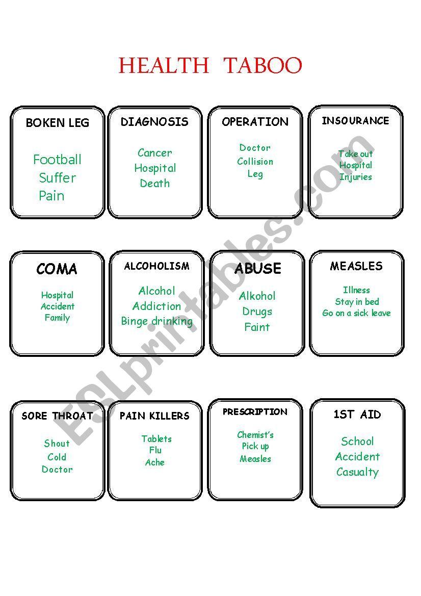 Health taboo part 2 worksheet