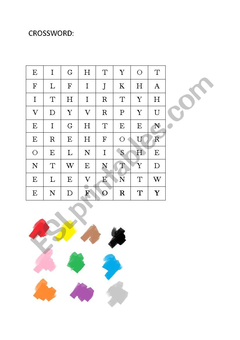 Crossword numbers and colors worksheet
