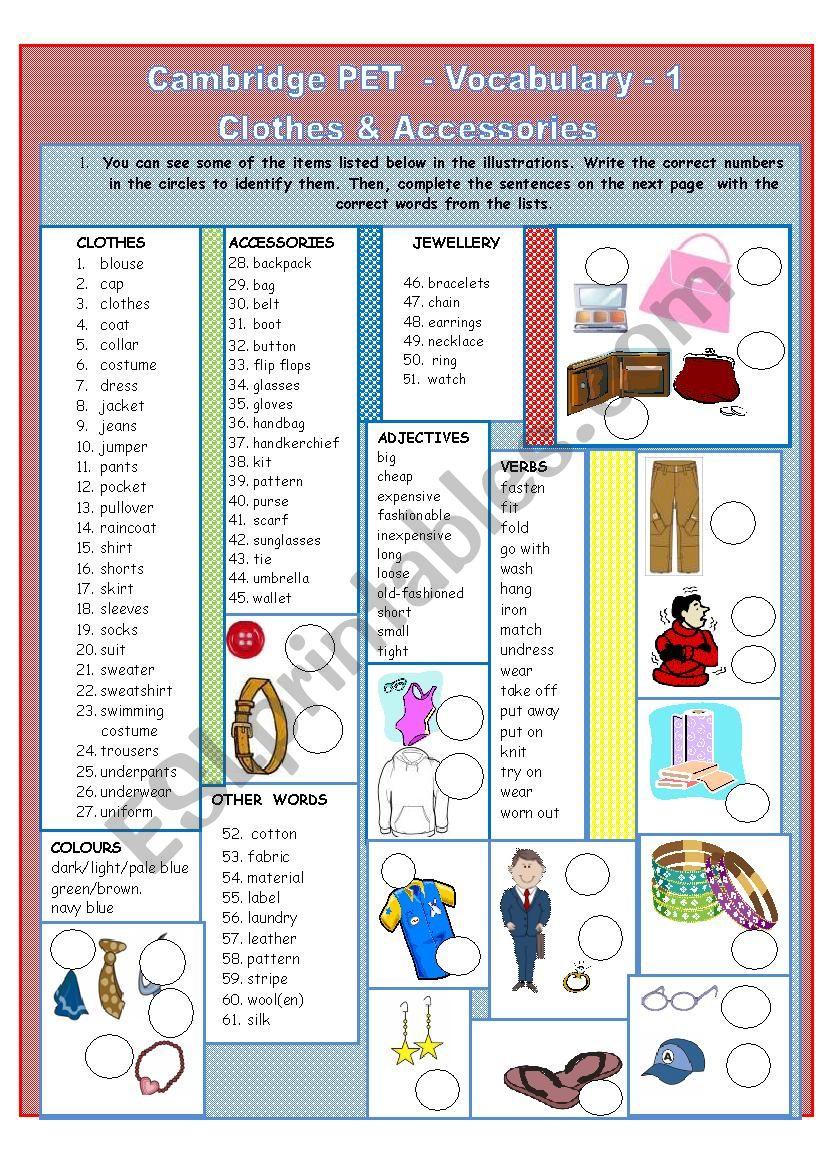 Cambridge PET topic lists - vocabulary - 1