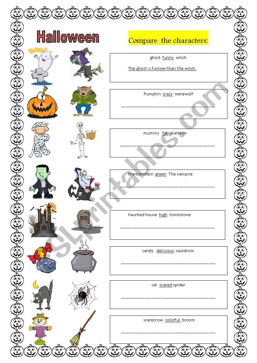 Halloween and comparisons worksheet