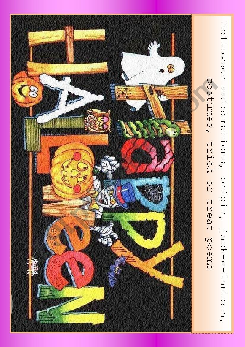 Halloween celebration worksheet