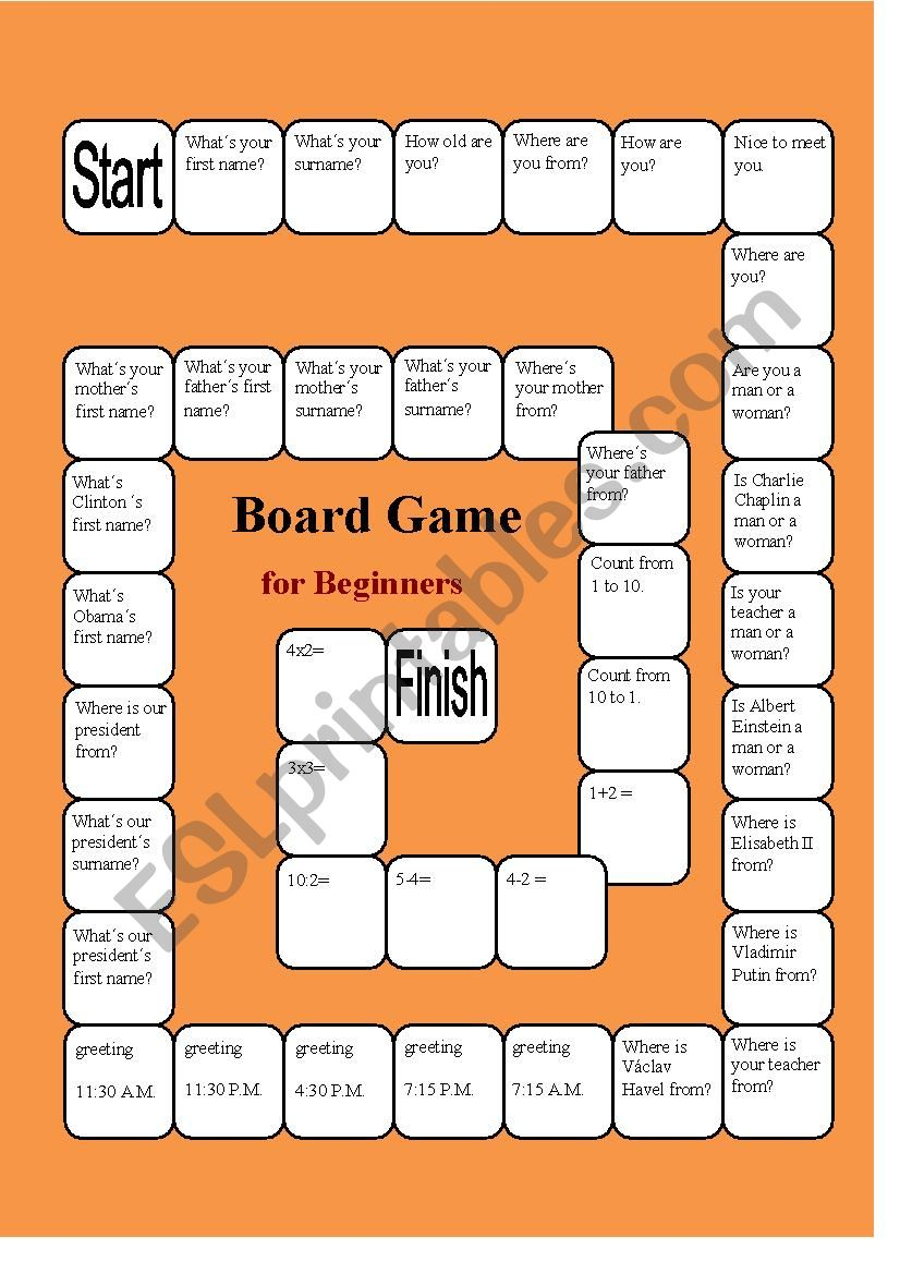 A Boardgame for Beginners worksheet