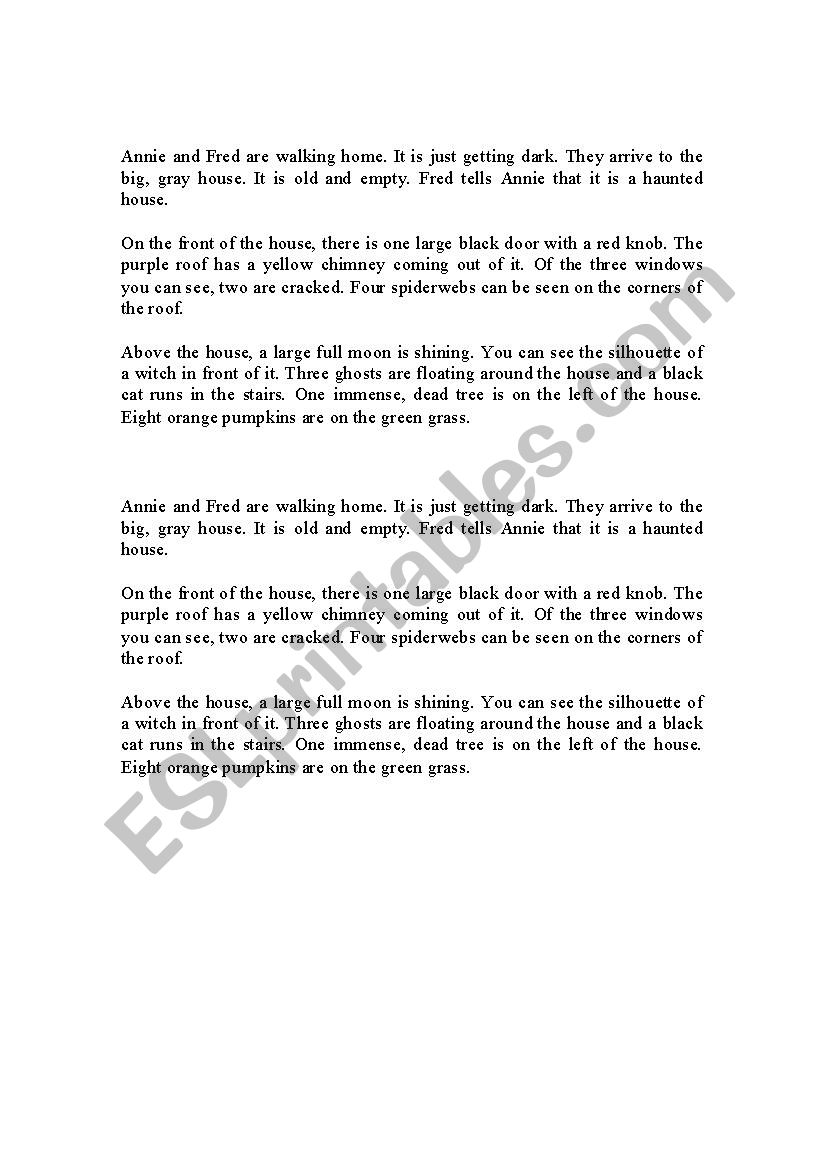 Haunted House Description Read And Draw Esl Worksheet