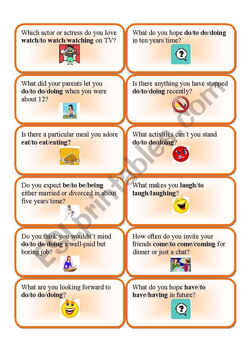 verb patterns question cards 1 esl worksheet by renca. Black Bedroom Furniture Sets. Home Design Ideas