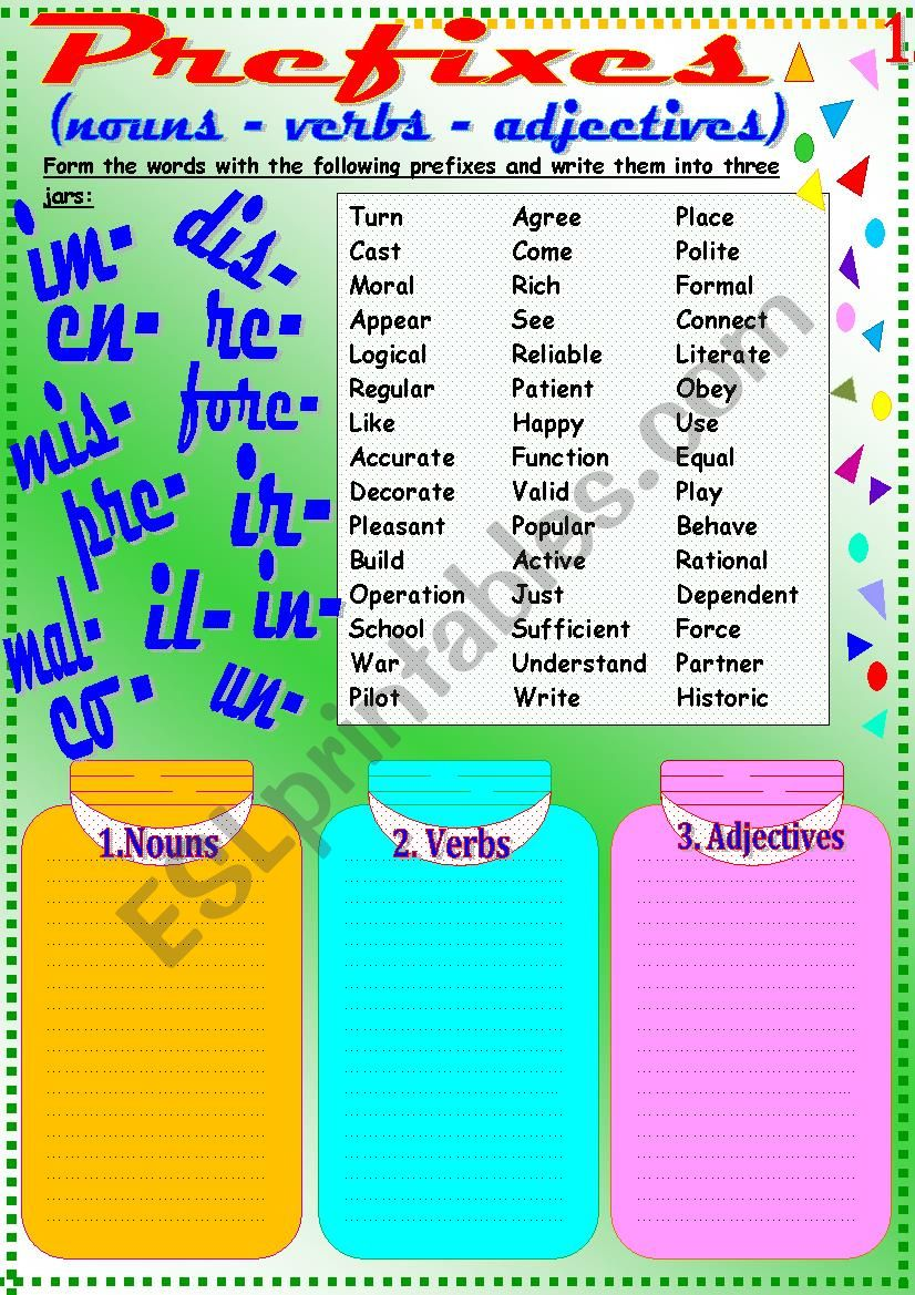 Prefixes 1 worksheet