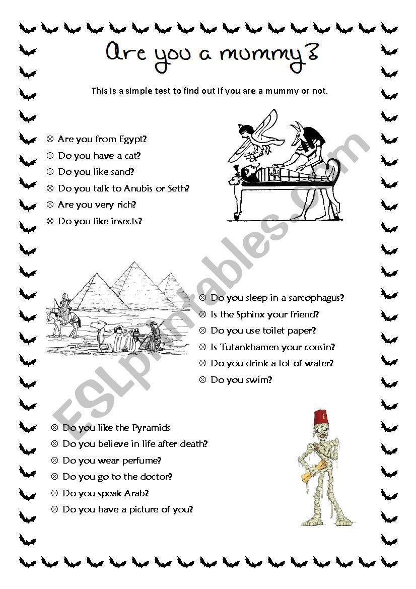 Halloween test 1/2 worksheet