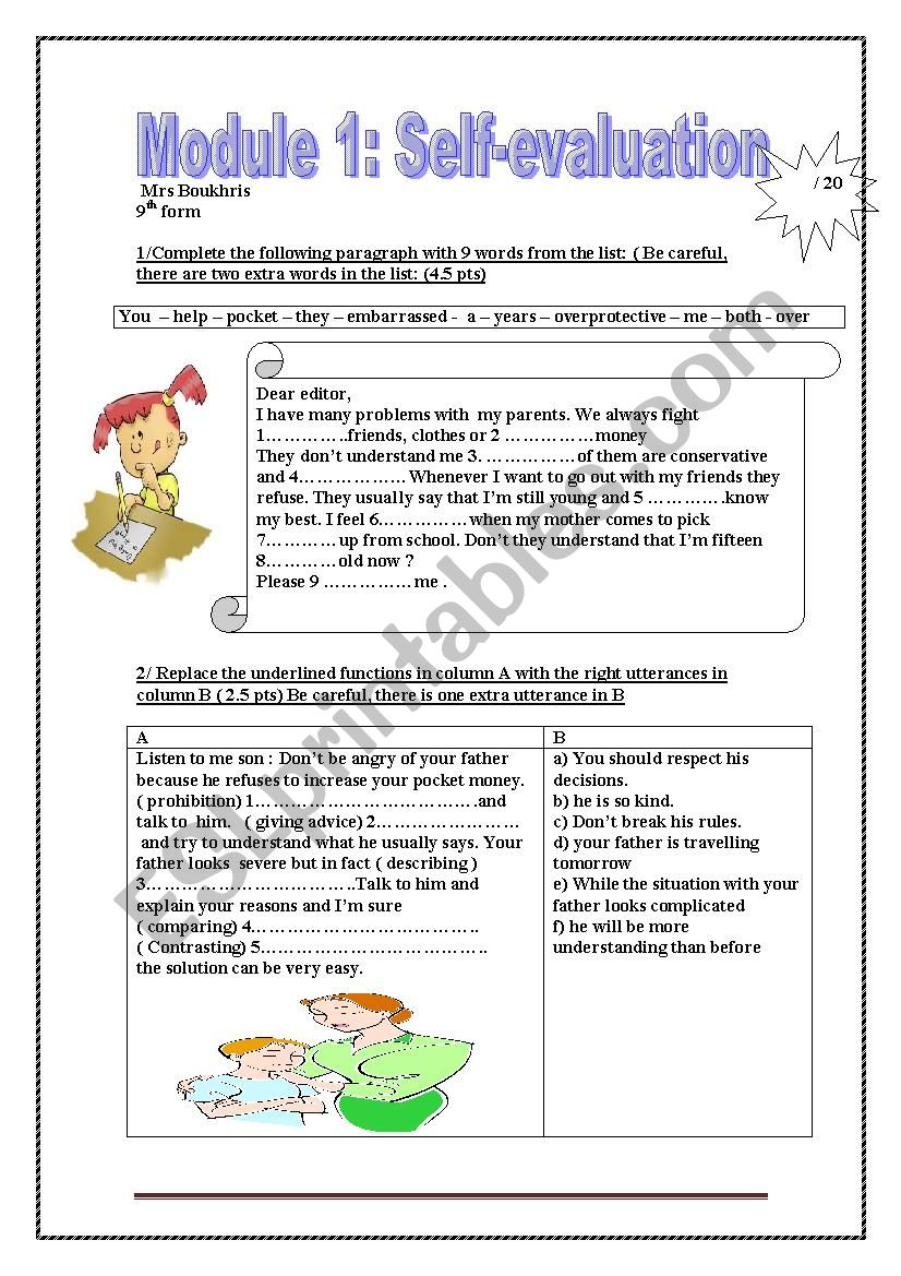 Module 1 self evaluation worksheet