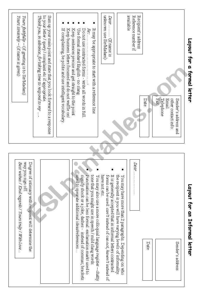 Layout Of A Formal Letter from www.eslprintables.com