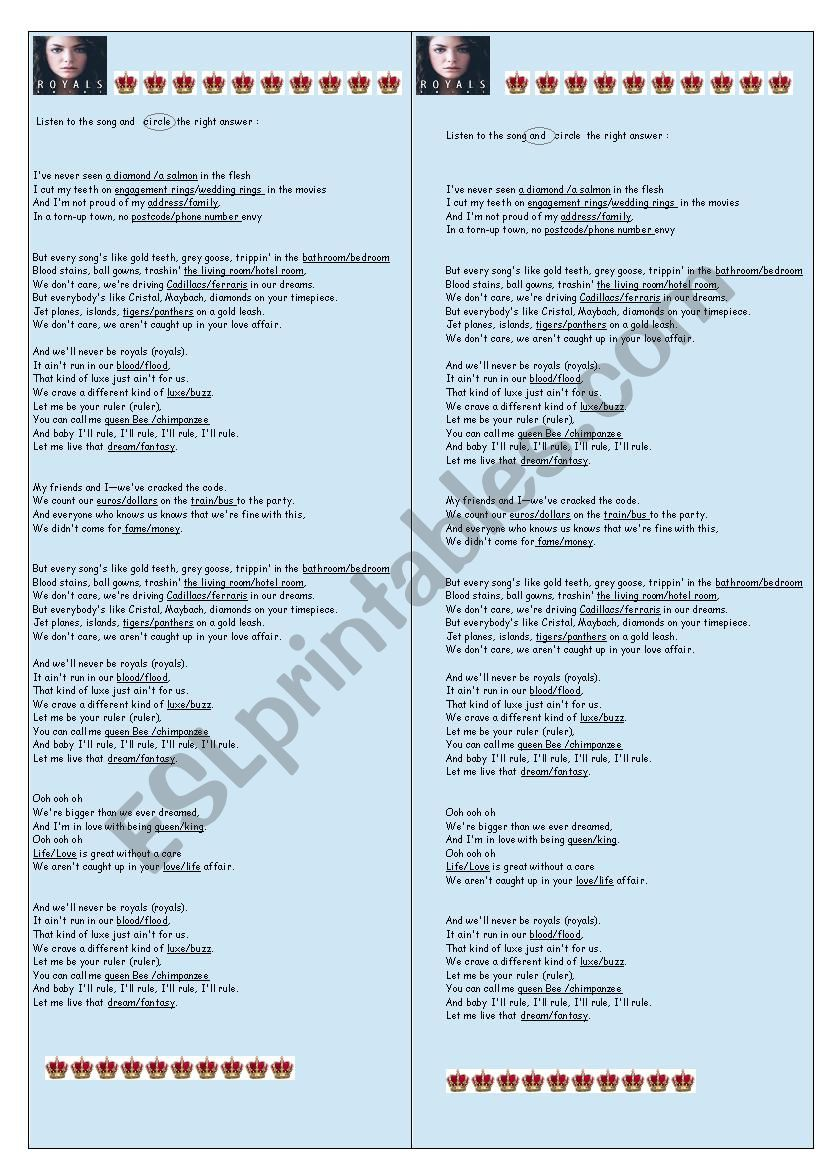 a new song LORDE ROYALS worksheet