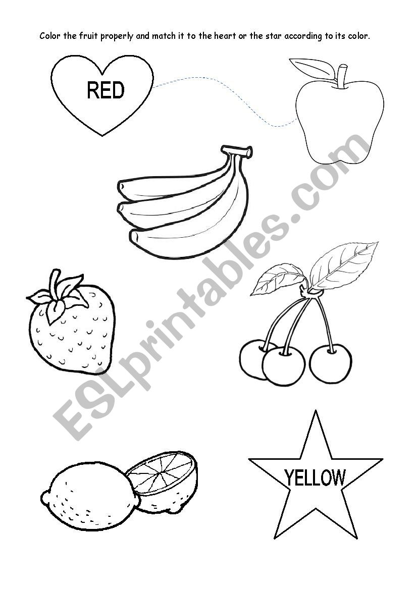 Colours - red and yellow KINDERGARTEN - ESL worksheet by rcostaelisabete